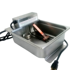 condensate evaporation pan with single loop heating element
